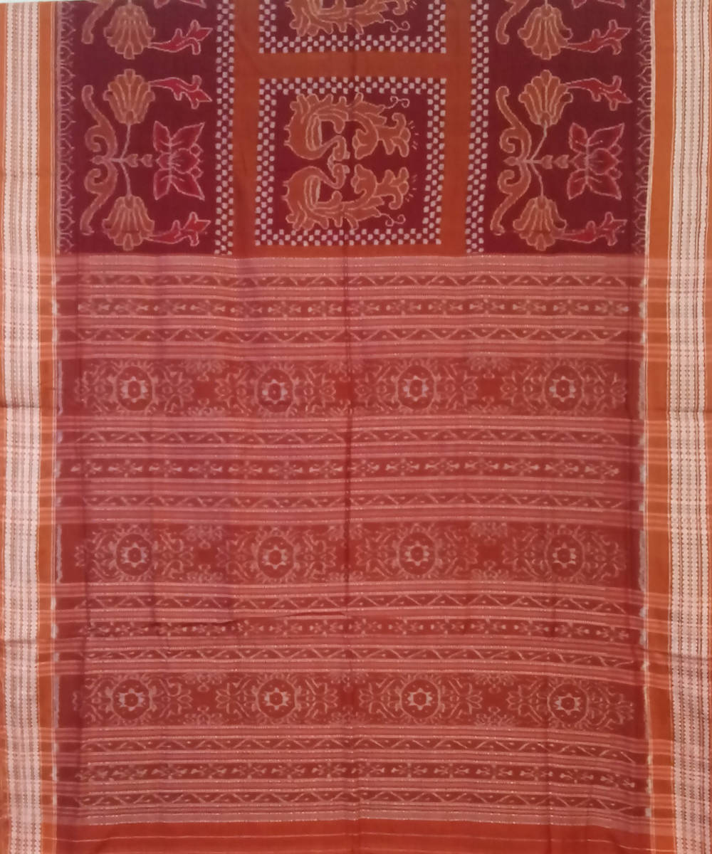 Brick red Peru Sambalpuri Cotton Ikat Saree
