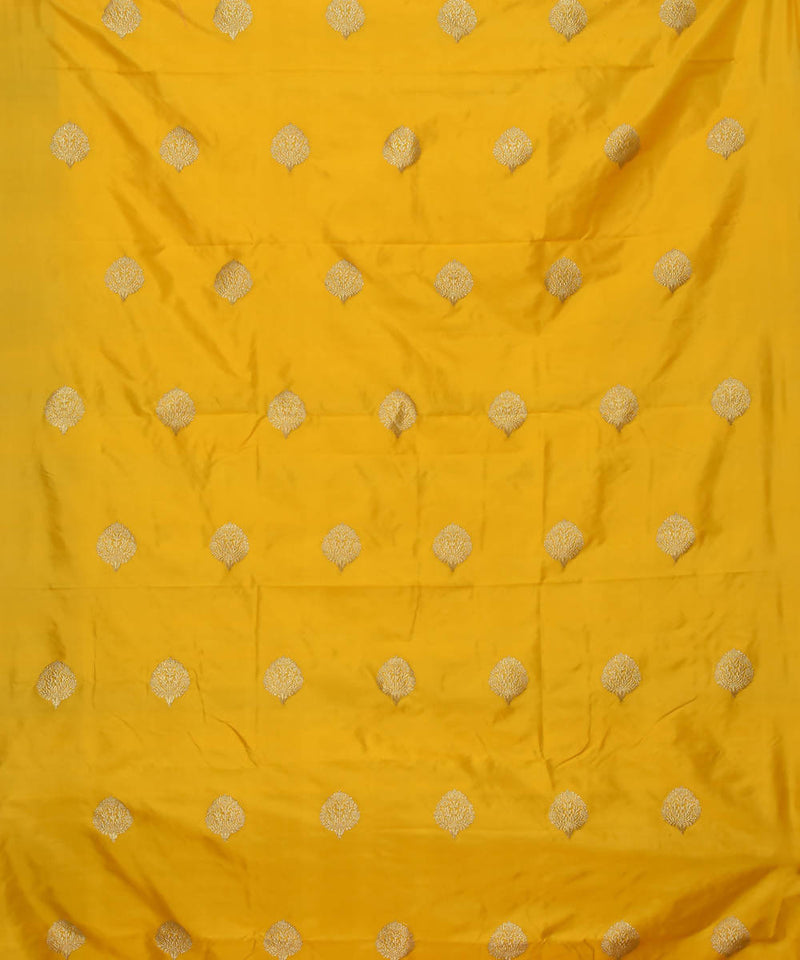 Banarasi Yellow Handloom Silk Fabric