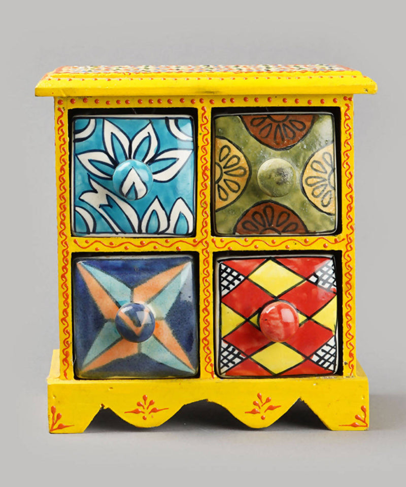 Yellow handcrafted wooden 4 storage decor drawer
