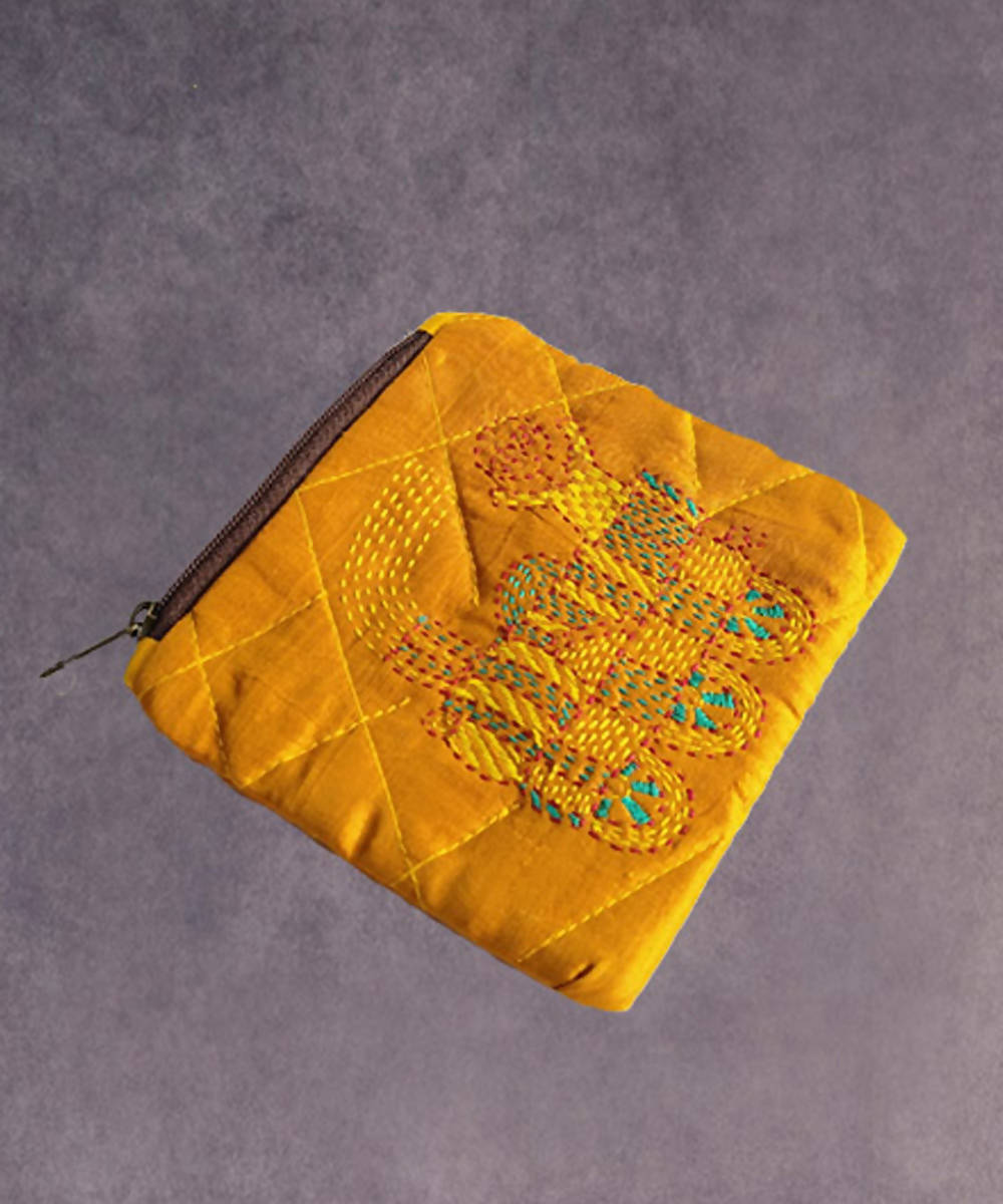 Mustard yellow hand made kantha stitch silk coin purse