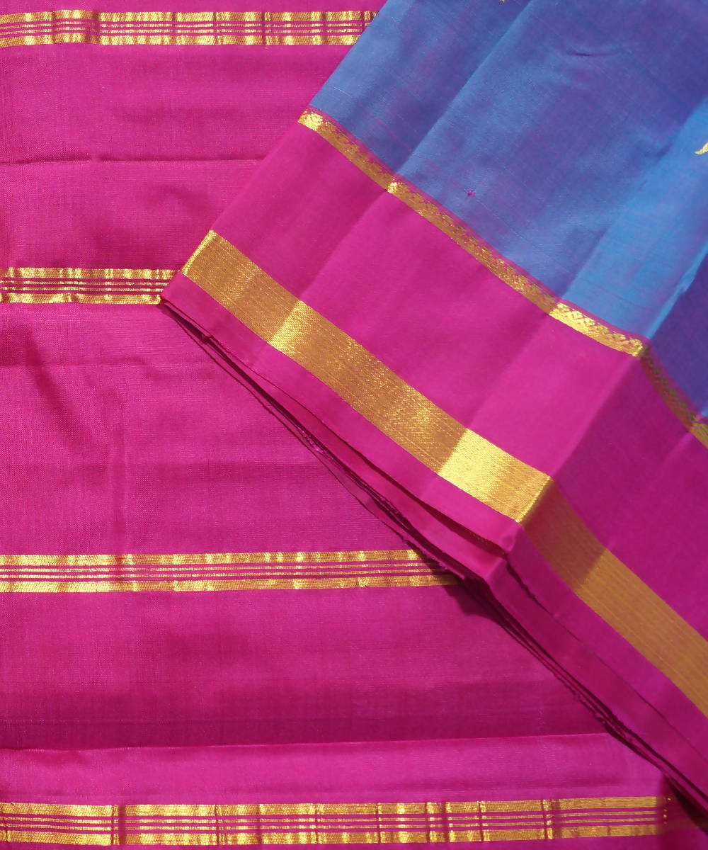 Navy Purple Handloom Rasipuram Silk Saree