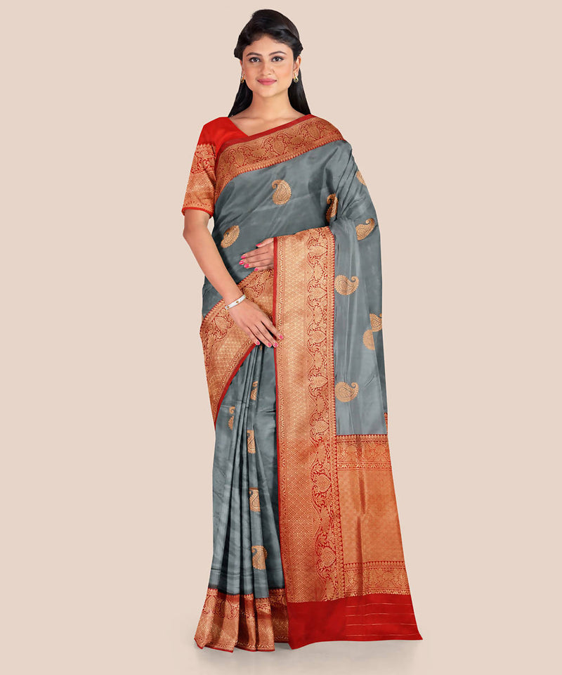 Grey red handwoven silk banarasi saree