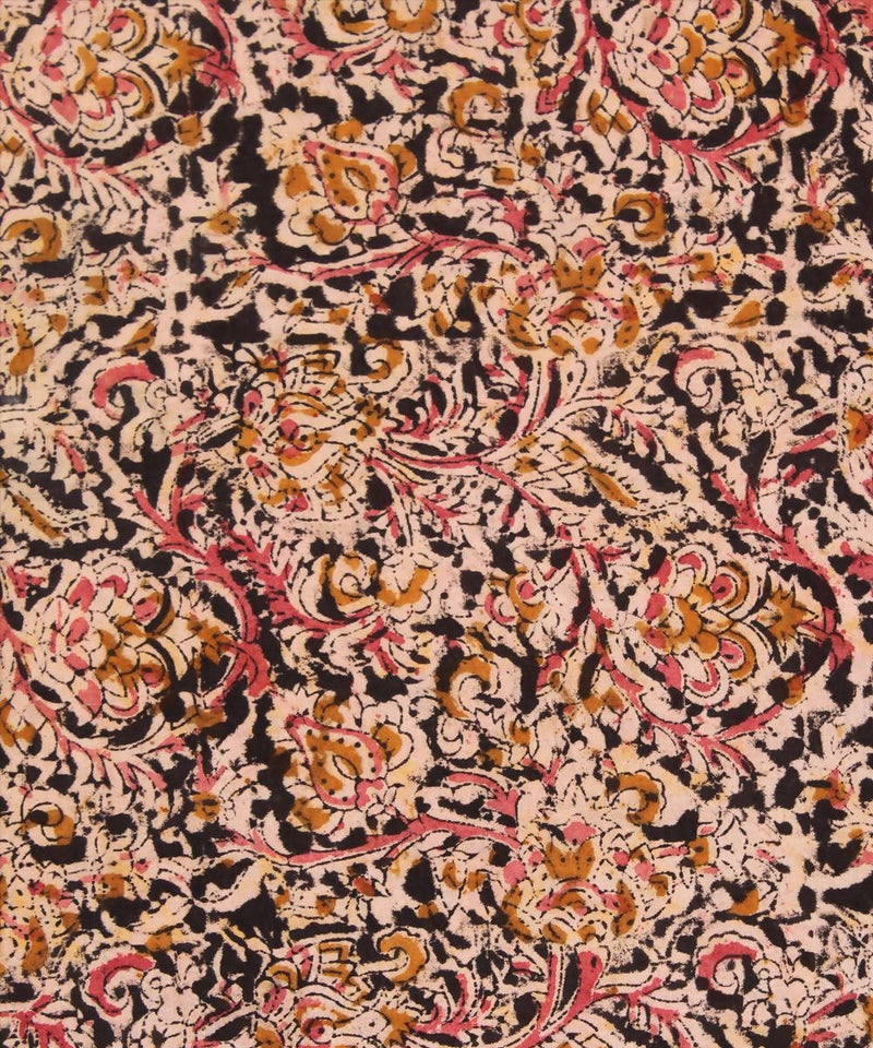 Handblock black kalamkari print cotton fabric
