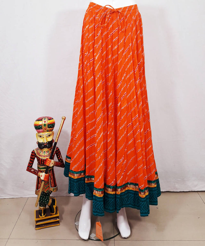 Orange lahariya print cotton crinkled skirt