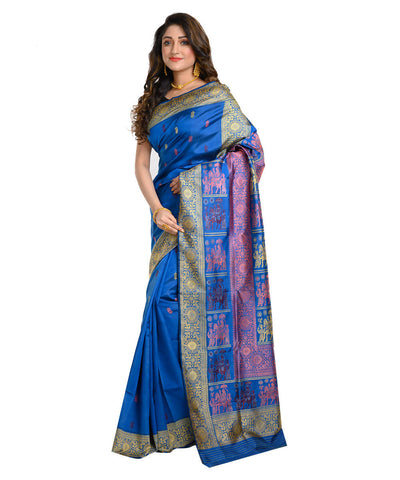 Dark blue handwoven baluchari mulberry silk saree
