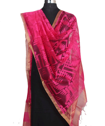 Matka Silk Pink and Golden Handwoven Dupatta