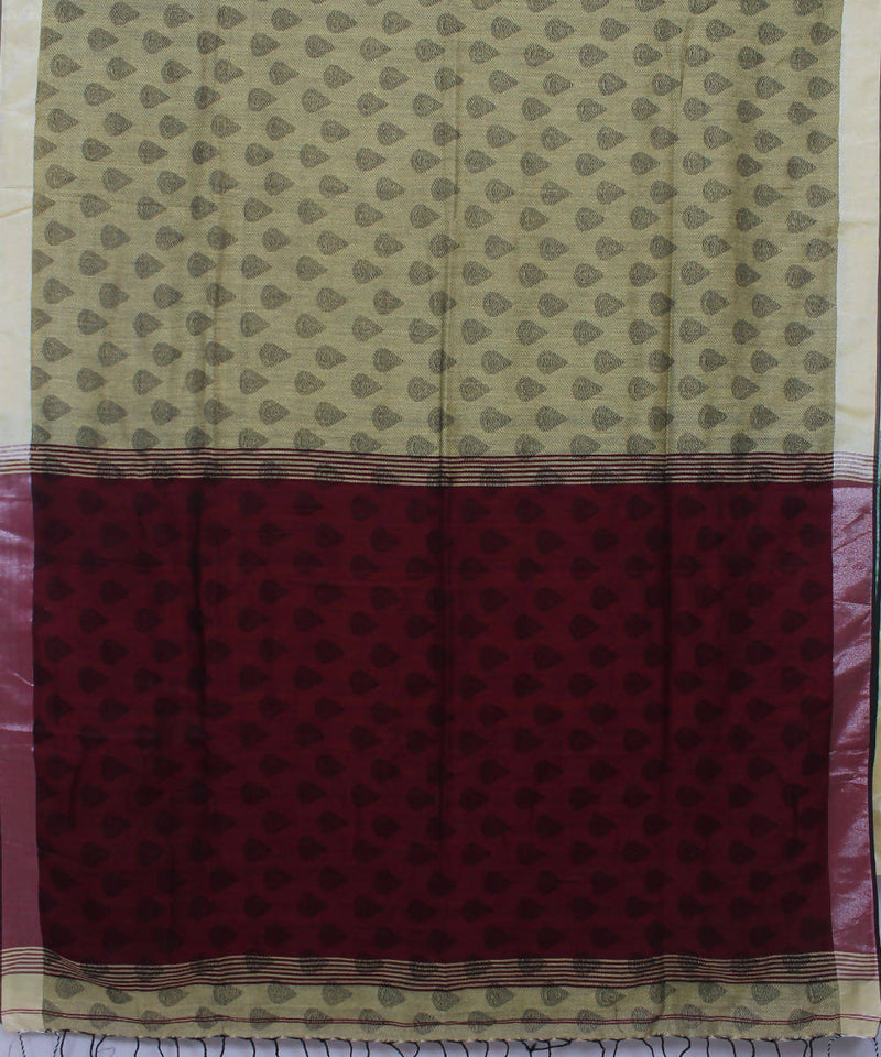 Grey Burgundy Bengal Handloom Cotton Saree