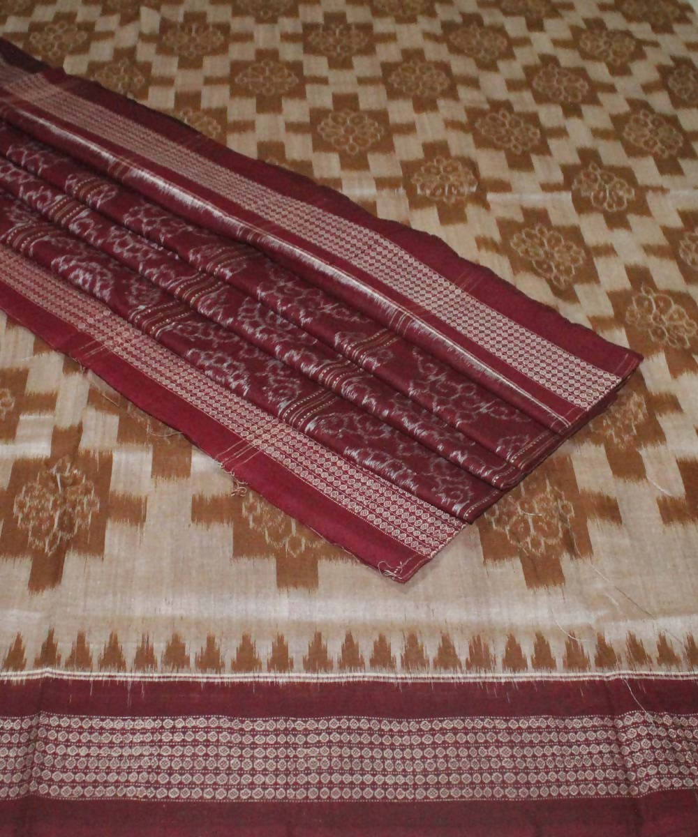 Brown Maroon Handloom Sambalpur Cotton Saree