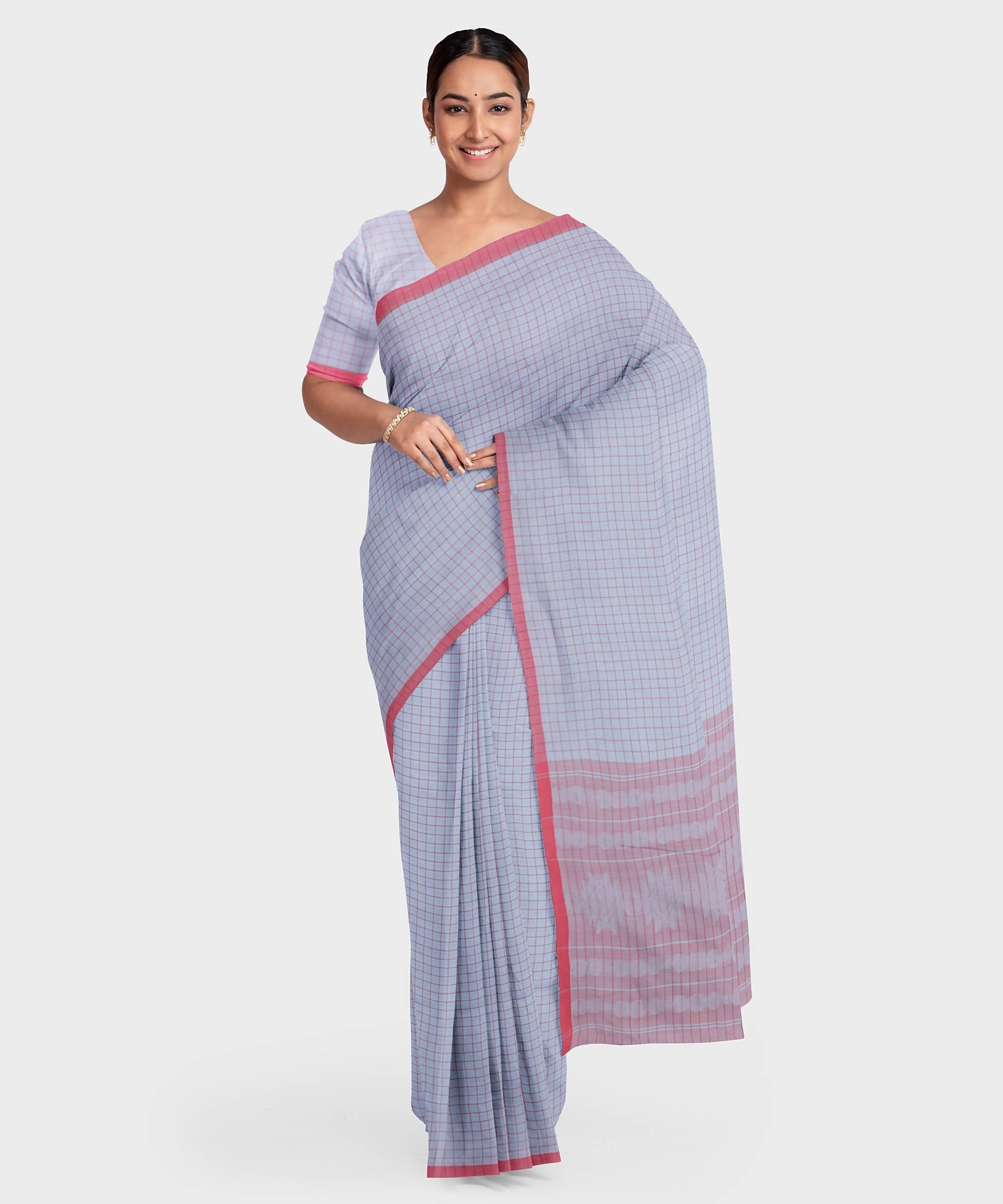 Biswa bangla handwoven grey red check mercerised cotton saree