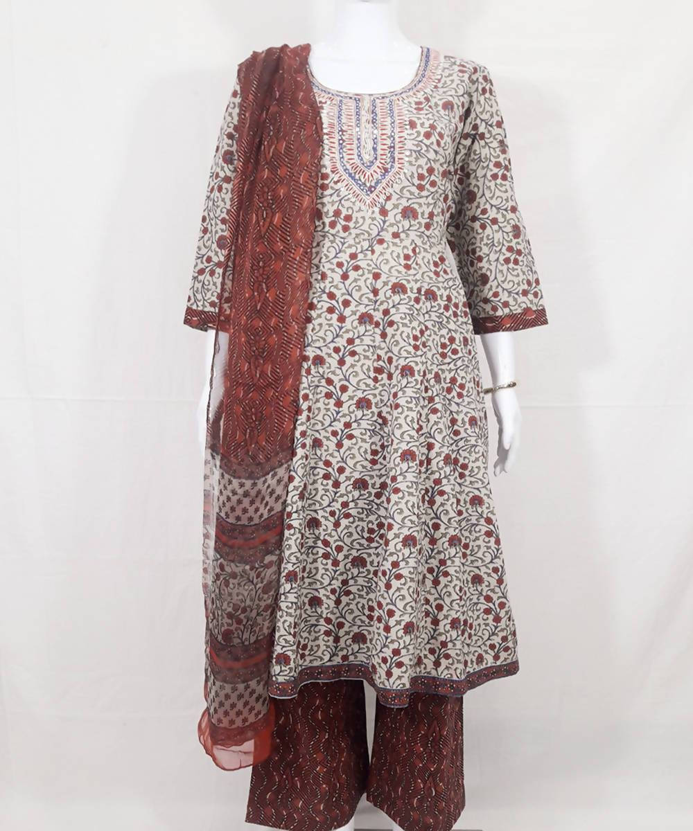 Multicolor handblock printed cotton kurti dupatta and palazzo set