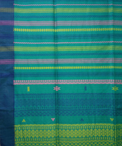 Bengal Firozi Blue Striped Handloom Cotton Saree