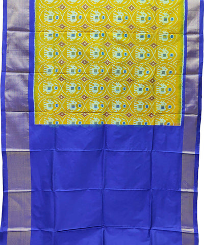 Light yellow blue handwoven pochampally ikkat silk lehanga material