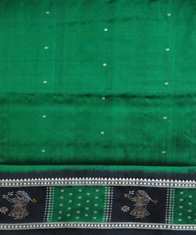 Bomkai Bottle Green Handloom Silk Saree