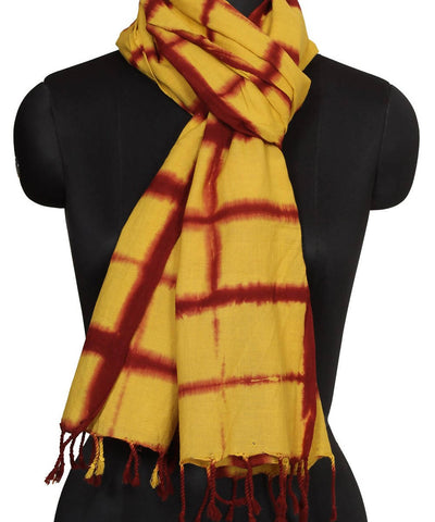 Shibori Yellow and Red Cotton Stole