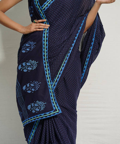 Indigo handblock print applique work mul cotton saree