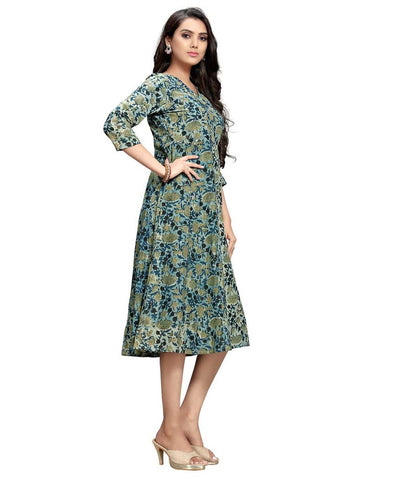 Algae Green Dabu Handblock Printed Angrakha Style Cotton Dress