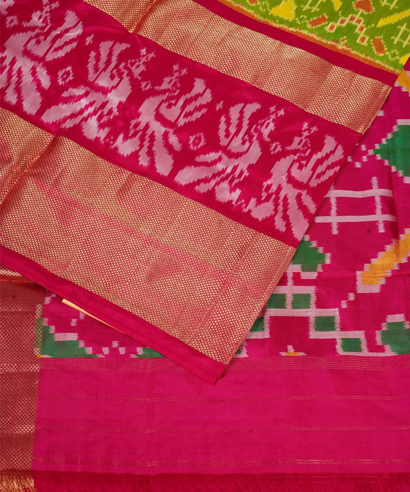 Pan Patola Green Handloom Ikkat Silk Saree