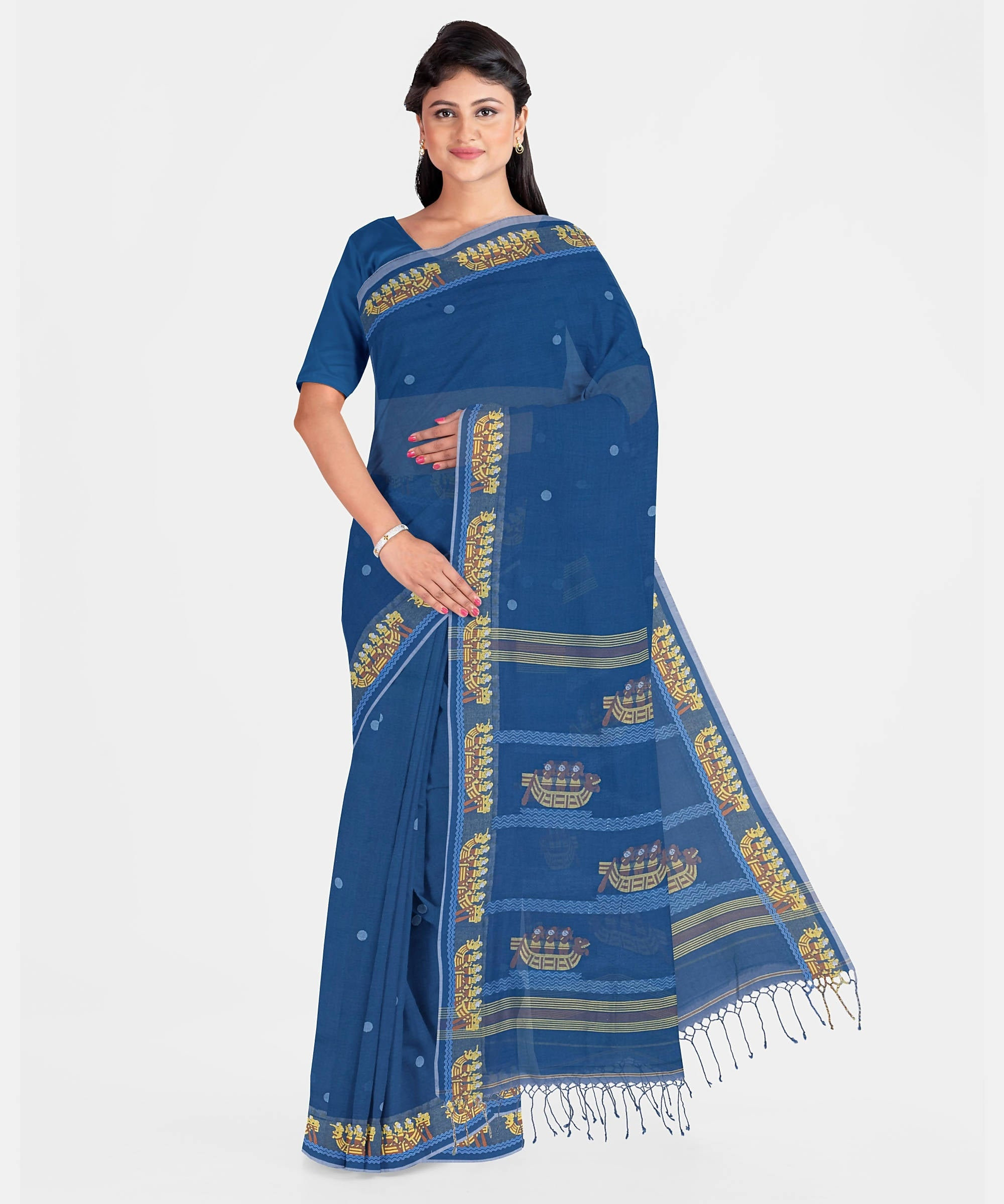 Biswa Bangla Handwoven Cotton-Silk Saree