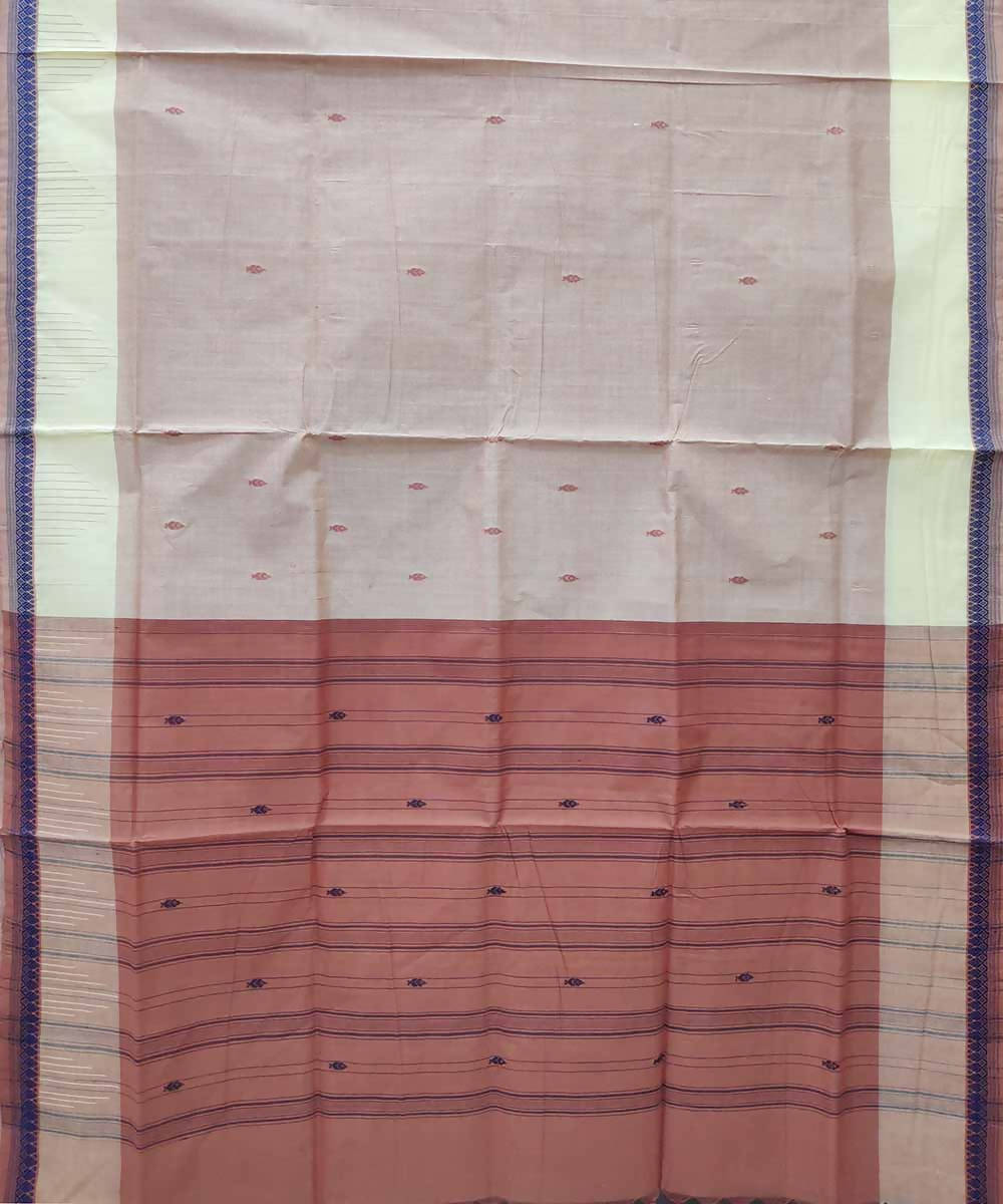 Blanched almond powder red handloom cotton venkatagiri saree
