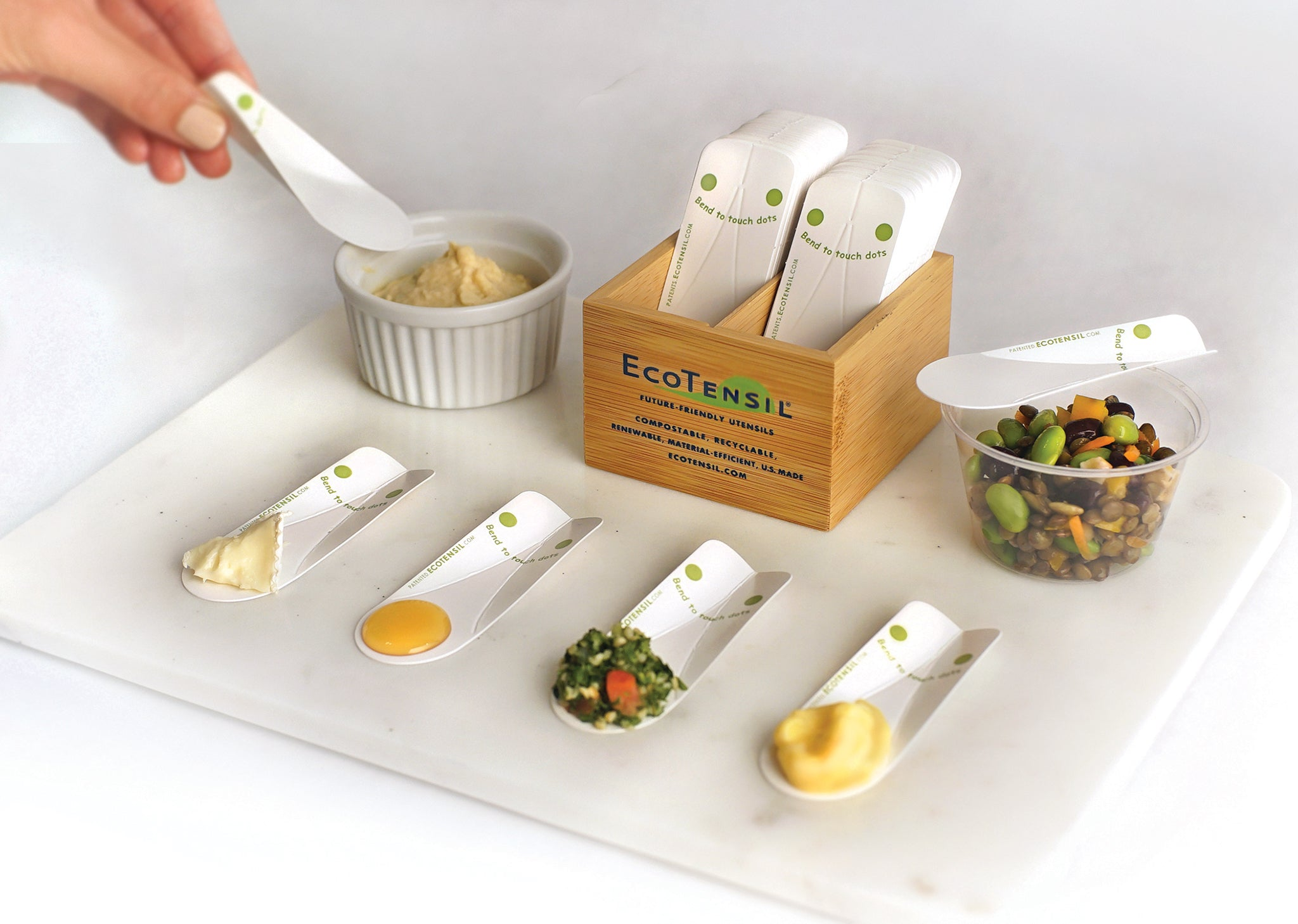 EcoTaster sampling spoons, by EcoTensil are a great way to achieve your zero waste goals for food demos!