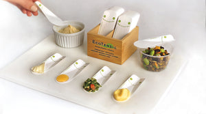 Compostable, biodegradable teaspoons, for plastic free sampling