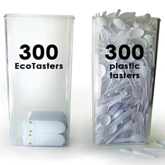 EcoTaster® Mid Starter Kit: 1000 compostable mid-sized sampling spoons with bamboo dispenser