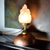 Funky unusual lighting. The Empire Bed Warmer' Table lamp upcycled