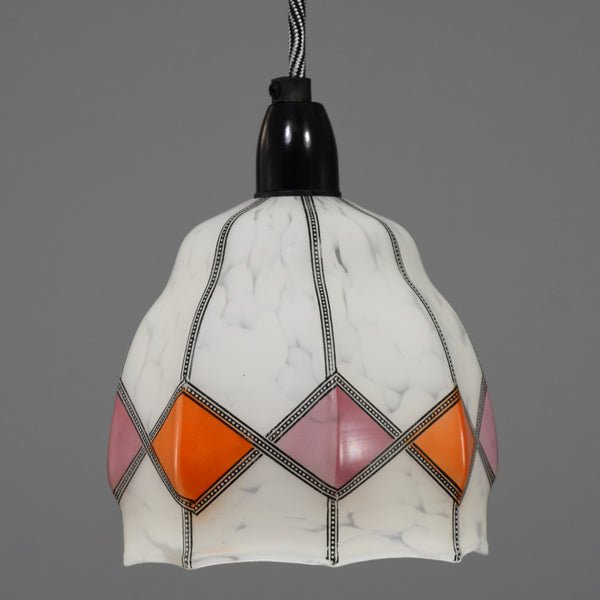 1920s-1930s Glass pendant light shade