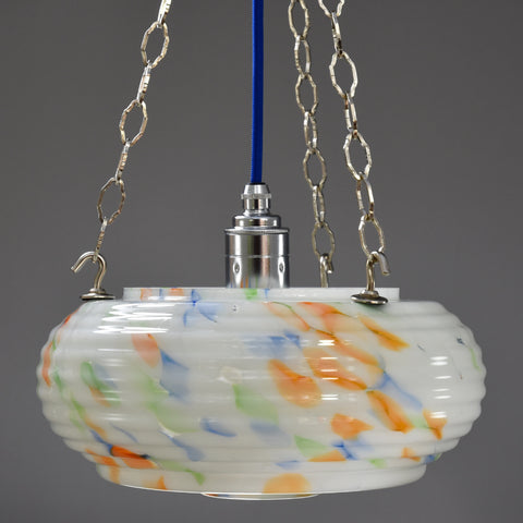 1930s-1950s flycatcher hanging bowl ceiling light with marbling in blue, green and orange