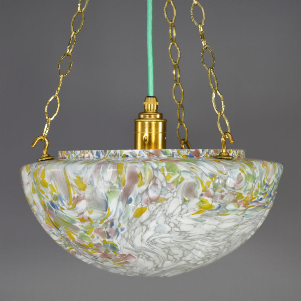 1930s Art Deco flycatcher glass bowl ceiling light