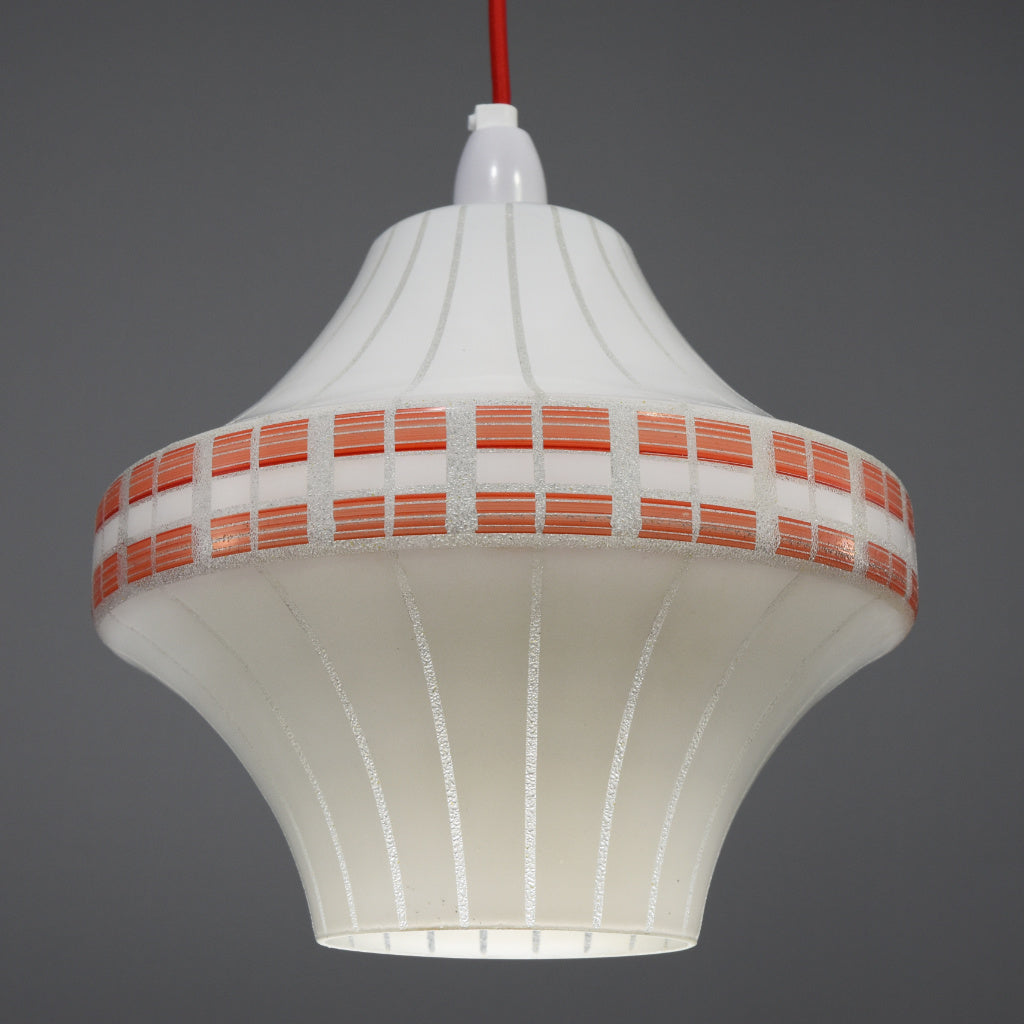 1950s-1960s retro white glass pendant shade