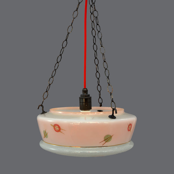 1950 Pink and gold 'Sputnik' design Flycatcher glass bowl ceiling light