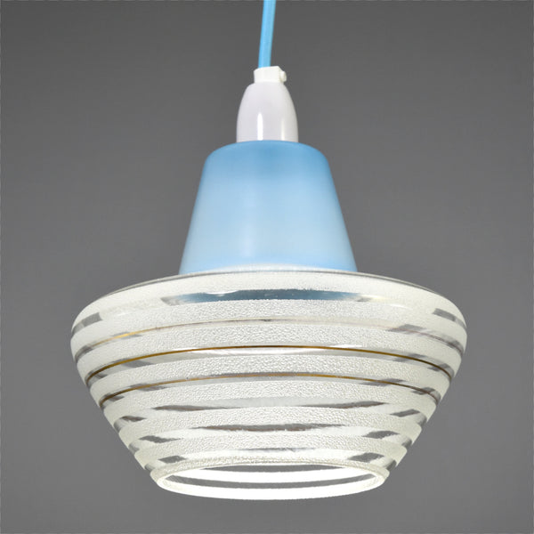 1950s/1960s  glass ceiling pendant light with baby blue top