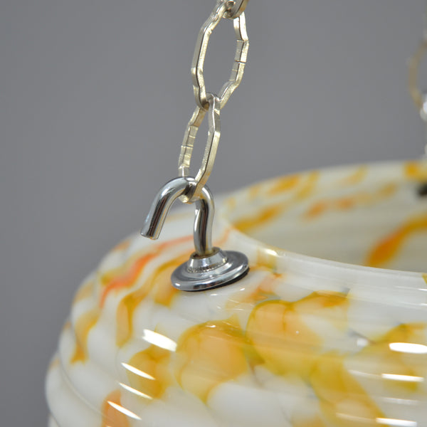 1950s Flycatcher/Plafonnier glass bowl ceiling light with orange marbling