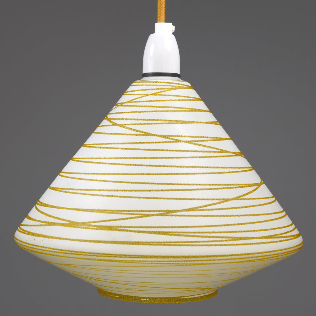 1950s-1960s Mid-Century Modern white frosted glass pendant light