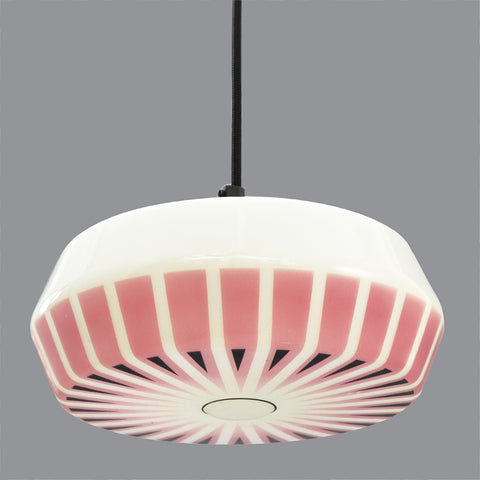 1950s/1960s German white glass lampshade with pink and black geometric pattern
