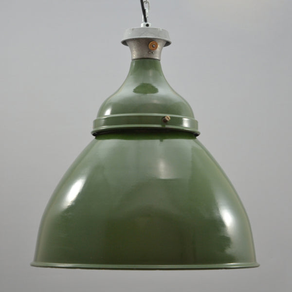 1950s Benjamin green enamelled industrial pendant XL