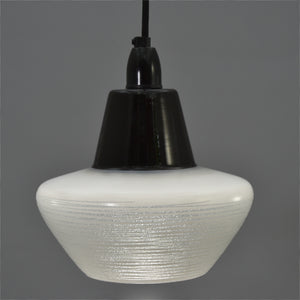 1950s black toped white glass Ceiling Light