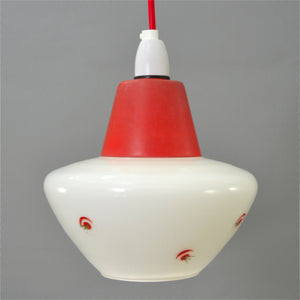1950s small red topped white glass Ceiling Light with atomic motif