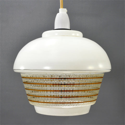 1950s White glass Ceiling Light with white top and the clear base has gold stripes