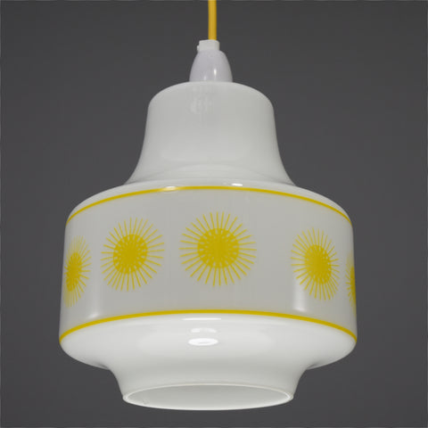 1960s/1970s White glass ceiling light with yellow sun burst design