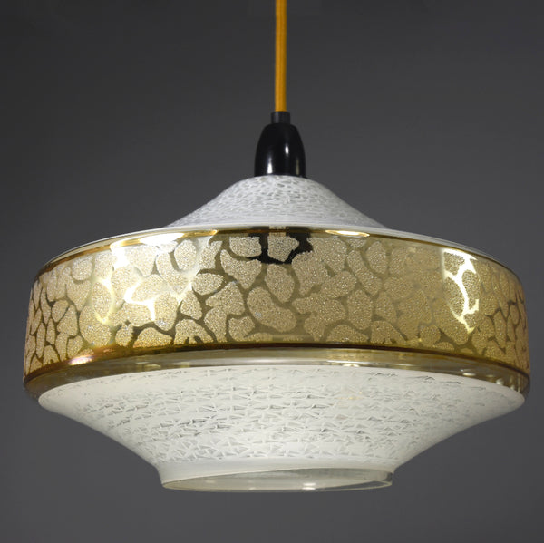 1960s-1970s Clear glass pendant light with gold frosted patterning
