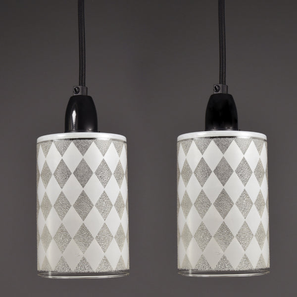 1960s-1970s ceiling lights with white checkered patterns