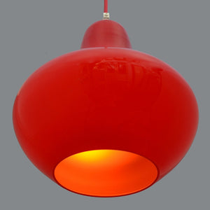 1960s Scandinavian design red glass bulb shape Ceiling/Pendant Light