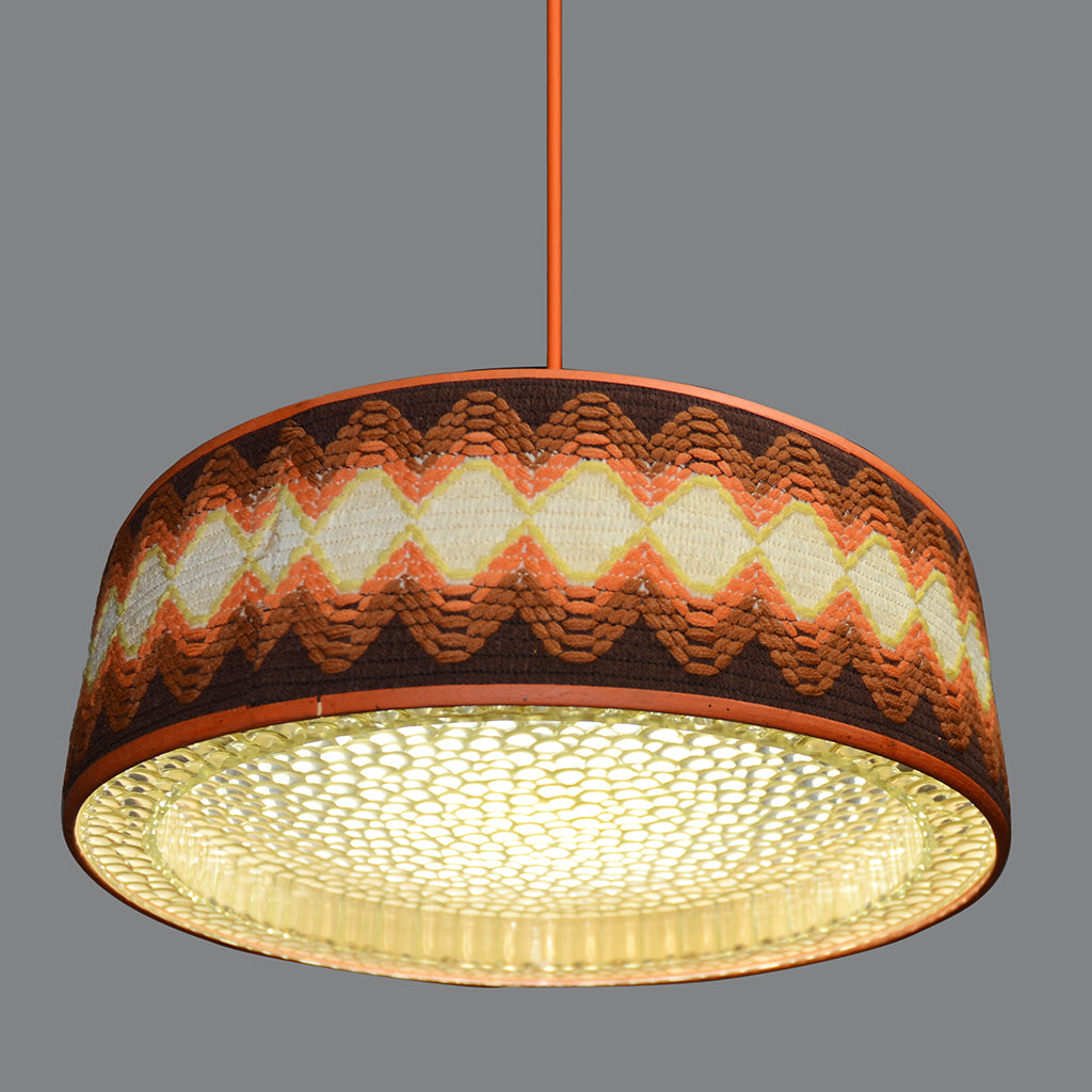 1960s Ufo Ceiling Light Pendant Lamp Shade With Textile