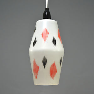1960s Opaque white glass light shade with red and black diamond pattern