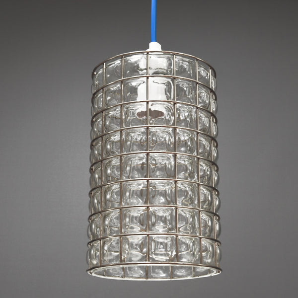 1960s/1970s Steel caged clear glass ceiling/pendant light with blue cable