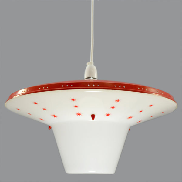 1960s 'Flying saucer' lampshade with moulded white plastic base and red metal top