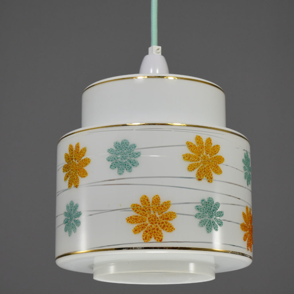 1960s white glass pendant light