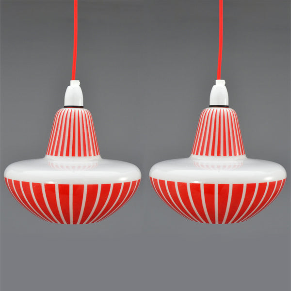 1960s white glass pendant lights with red pattern